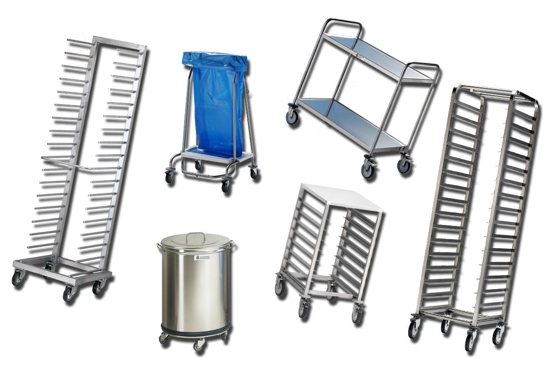 Equipment: carrello frontale a pioli, carrello a guide angolari, carrello di servizio, carrello porta derrate, pattumiera