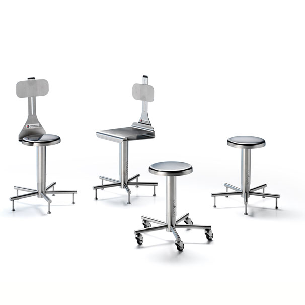 Sedie e sgabbelli in acciaio inox AISI 304